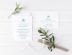 Starfish Beach Wedding Invitation Destination by CasaConfetti