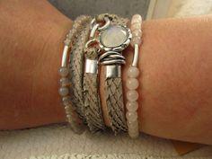 zalmeren armband met 925 zilver en maansteen cabochon, elastische rozenkwarts armband en elastische grijze agaat edelstenen