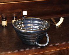 Stoneware Shaving Mug, Hand Thrown Black Shaving Dish, Textured Wet Shaving Bowl, Holiday Gift for Him by MomopotteryStudio on Etsy