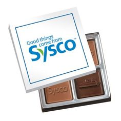 Choose between two milk and dark chocolate pieces with a custom logo. Your choice of silver or gold gift box with matching stretch bow.