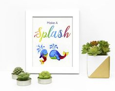 Make a Splash Rainbow Whales Watercolour Digital Watercolor Whale, Watercolour, Whales, Rainbow, Hand Painted, Boutique, Digital, Prints, How To Make