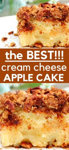 Cream Cheese Apple Cake - This is an outstanding cake that you can enjoy all year round, I hope you love it as much as we did! Apple Desserts, Köstliche Desserts, Apple Recipes, Baking Recipes, Sweet Recipes, Apple Cakes, Holiday Desserts, Health Desserts, Christmas Recipes