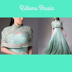 """How gorgeous is this aqua blue anarkali dress with attached cape by…"