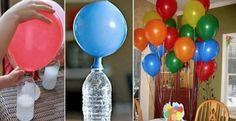 Hoy te daremos una opción diferente para inflar globos y así no tengas que utilizar helio, ¡es super divertido!  Necesitarás:  1 botella vacía de 2 litros (puede ser de refresco) 1 embudo 500 gr de bicarbonato de sodio 500 ml de vinagre blanco Globos de tu preferencia  Preparación (ri