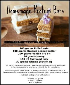 Protein bar   https://www.facebook.com/lilmissgreenjeans