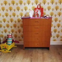 Kids room, dresser, Ferm Living wallpaper.