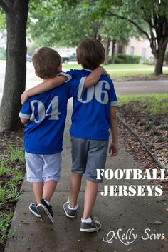 Adorable Football Jerseys by Melly Sews from the Blank Slate Patterns Just a Jersey pattern