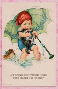 """""""It's Always Good Weather when Good Fellows get Together"""" ~ Unsigned Charles Twelvetrees Vintage Postcard ~ Little Girl with a Parasol & Reluctant Cat & Dog Paddle in the Sea ...."""