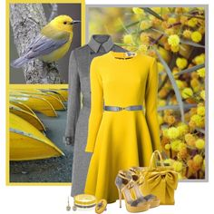 Yello & grey, created by barbarapoole on Polyvore