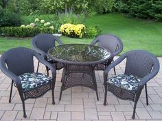 (CLICK IMAGE TWICE FOR UPDATED PRICING AND INFO) #outdoorfurniture #patiofurniture #diningsets #patiodiningsets #patio #outdoor #furniture #patiotables #patiochairs - 5 pc. Resin Wicker Outdoor Dining Set ELITE with Cushions, black (Flower Pattern Covers) « zPatioFurniture.com