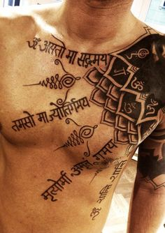 A mantra of peace and happiness - 75 Nice Chest Tattoo Ideas