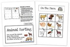 Animal Sorting Game (on the farm, in the zoo, or in the ocean)