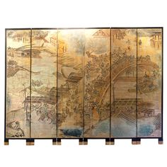 Six panel Chinoiserie floor screen