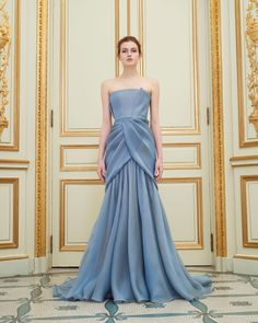 Rami Al Ali | Spring 2016 Couture | 16 Blue strapless maxi dress