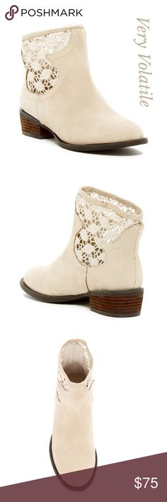 """❗️1 Hour Sale❗️Stevie Crochet Boots Whimsical crochet stitched shaft detail styles a leather pull- on boot, lifted on a sturdy wood grain heel.Approx 6.5"""" shaft height ,WA, circumference, 1.5"""" heel, leather Very Volatile Shoes Ankle Boots & Booties"""