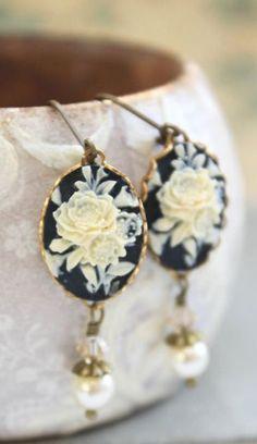 Cream and Black Earrings Flower Cameo Earrings