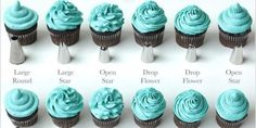 Piping chart for cupcakes.11 Charts Everyone Who Ever Plans on Baking Needs to Pin