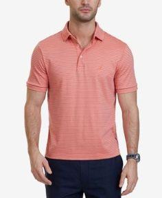 Nautica Men's Classic-Fit Striped Cotton Polo - Red XXL