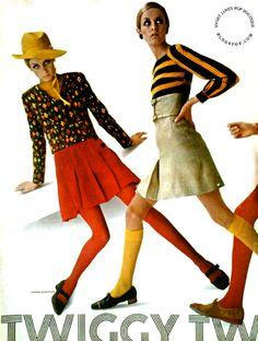 Twiggy models a wardrobe designed by Seventeen Magazine-July 1967. Photographer Carmen Schiavone.
