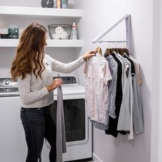 Retractable Drying Clothing Rack is ideal for drying and hanging your clothes. With its dual purpose comes greater efficiency, so it's a win, win situation! Laundry Closet Organization, Laundry Room Organization, Laundry Room Drying Rack, Laundry Hanging Rack, Clothes Drying Racks, Clothing Racks, Laundry Closet Makeover, Ikea Laundry Room, Hanging Clothes Racks