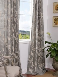 Fern Slate Crewel Embroidered  Faux Linen Curtains