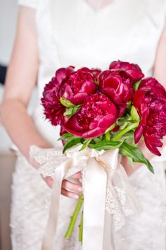 rich, red peony bouquet | Photography: A Guy + A Girl - aguyandagirlphotography.com  Read More: http://www.stylemepretty.com/tri-state-weddings/2014/04/21/cultural-nyc-wedding-with-whimsical-twist/