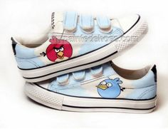 Hand Painted Angry Birds Light Blue Hand Painted Canvas Shoes,Low-top Painted Canvas Shoes
