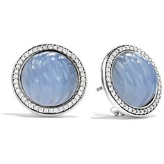 David Yurman Sculpted Cable Earrings with Blue Chalcedony and Diamonds (5.685 RON) ❤ liked on Polyvore featuring jewelry, earrings, accessories, blue, diamond jewelry, blue earrings, blue jewellery, blue jewelry and chalcedony earrings