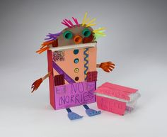 Art therapy: Build a Worry Warrior. Create an imaginary creature or contraption to help gobble up your worries Counseling Activities, Art Therapy Activities, Play Therapy, Grief Activities, Counseling Worksheets, Family Therapy, Work Activities, Speech Therapy, Mental Health