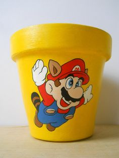 Super Mario 3 Painted Flower Pot by GingerPots