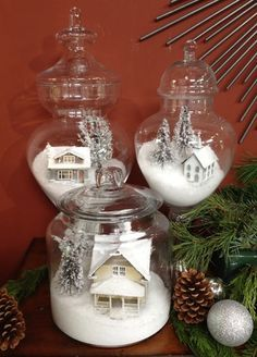 Apothecary Snow Viliage   KENNETH WINGARD kennethwingard.com These are so charming! They have a little LED tea light inside the house to simulate a fire in the fireplace.