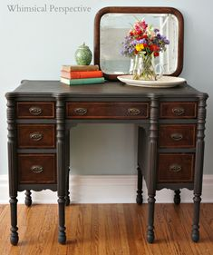 A beautiful desk finished in Graphite Chalk Paint® decorative paint by Annie Sloan | Whimsical Perspective: Top 10 Furniture Pieces of 2013
