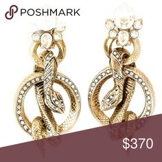 NEW Roberto Cavalli Rolled Snakes Hoop Earrings Brand new Roberto Cavalli Rolled Snakes Hoop Earrings in gold with prive Swarovski crystals. Only purchased to be resold. Still in its box with store receipt. Roberto Cavalli Jewelry Earrings