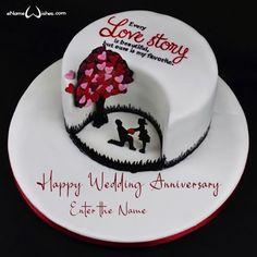 Happy Wedding Anniversary Cake with Edit Name - eNameWishes Fondant Cake Prices, Fondant Cake Designs, Cake Decorating With Fondant, Cake Decorating Tools, Fondant Cakes, Happy Wedding Anniversary Wishes, Happy Anniversary Cakes, Anniversary Photos, Birthday Wishes Cake