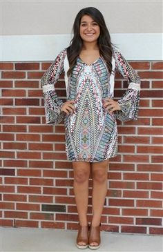 Multi-Colored Patterned Dress with Bell Sleeves #USTrendy www.ustrendy.com