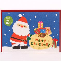 cute Santa Claus Christmas bobble hat glitter letter postcard from Japan 1