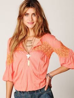 Free People Long Sleeve Crinkle and Lace Top