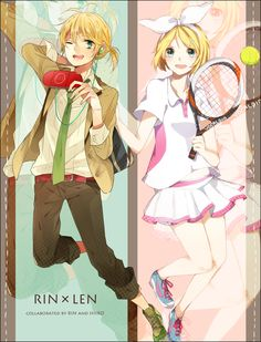 Anime picture 				1194x1568 with  		vocaloid 		psp 		kagamine rin 		kagamine len 		hiiro (artist) 		xxxxxymdy 		short hair 		tall image 		blush 		blue eyes 		open mouth 		blonde hair 		green eyes 		wink 		signed 		zoom layer 		twins 		girl 		male 		bow