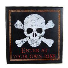 Decorative Halloween Plaque with Skull Head