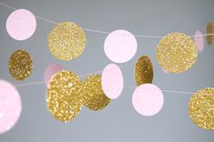 Garland, Glitter Paper Garland, Gold and Pink, Gold and Blush, Bridal Shower…