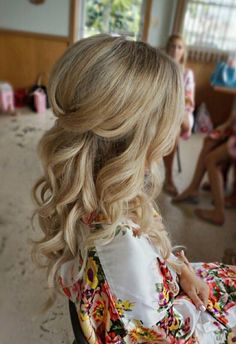 Pretty Half-up with curls and bridal hair