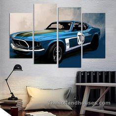 4 Pcs Blue Sports Car Wall Art painting Home Decoration Living Room Canvas Print Painting on canvas Wall picture Living Room Canvas Prints, Wall Canvas, Canvas Art, Car Wall Art, Wall Decor Design, Wall Art Pictures, Picture Wall, Living Room Decor, Painting