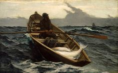 In Winslow Homer's painting The Fog Warning (1885) he paints a halibut fisherman that is racing against the clock of time. As you can tell from the painting he has a large catch for such a small boat. Perhaps he stayed out just a touch too long in his effort to maintain his livelihood.