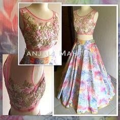 Anjali Mahtani Multi-Coloured #Lehenga With Floral Embroidered #Blouse.