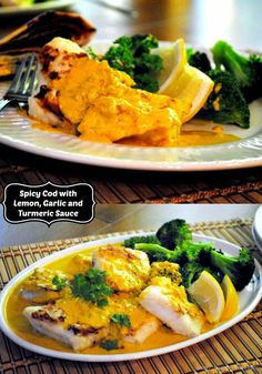 Spicy Cod with Lemon, Garlic and Turmeric Sauce - Mother Rimmy's Cooking Light Done Right Fish Recipes, Seafood Recipes, Healthy Recipes, Healthy Food, How To Cook Barley, Recipe Images, Recipe Ideas, Fish Dishes, Cooking Light