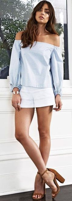 50 Trending Summer Outfits From Our Label Crush : Kookaï Australia Striped Off The Shoulder Top + White Shorts Cute Summer Outfits, Fall Outfits, Casual Outfits, Fashion Outfits, Womens Fashion, Formal Outfits, Summer Shorts, Spring Fashion Casual, Spring Fashion Trends