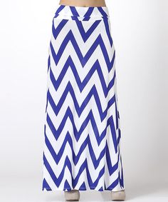This Royal Blue & White Zigzag Maxi Skirt by BOLD & BEAUTIFUL is perfect! #zulilyfinds