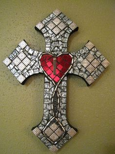Medeival Gothic Style Sacred Heart Mosaic Wall Cross. $130.00, via Etsy.