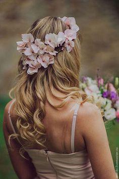 Свадебные украшения ручной работы. Ярмарка Мастеров - ручная работа Веночек из нежно-розовой гортензии. Handmade.
