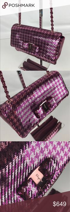 """Salvatore Ferragamo Medium Sequined Vara Flap Bag Authentic. New without Tag. A few minor marks from handling on hardware.  Medium sequin flap bag featuring gold signature Vara bow, snap closure, interior zip pocket, and gold chain strap with 22"""" drop. Lined in jacquard. Collection FW 2016 Made in Italy. 9.8""""L x 6.1""""H x 2.3""""D. Style 21E480. RB722  Thank you for your interest!  PLEASE - NO TRADES / NO LOW BALL OFFERS / NO OFFERS IN COMMENTS - USE THE OFFER LINK :-) Salvatore Ferragamo Bags…"""
